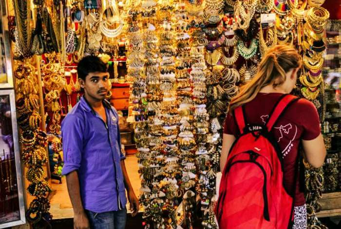 A foreigner shopping in Colaba Causeway