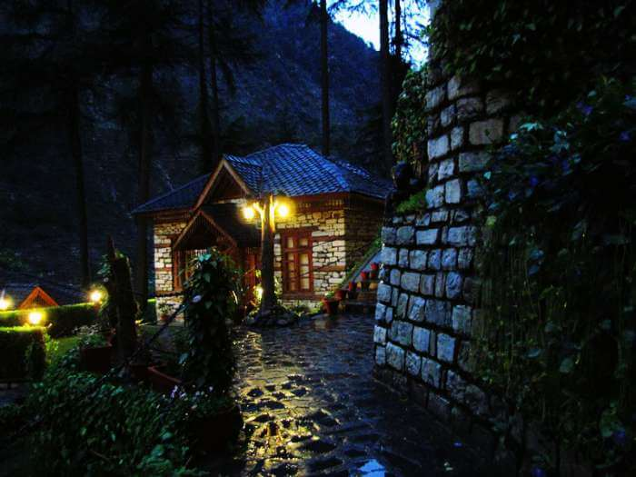 A beautiful cottage on a rainy evening in Kasol.
