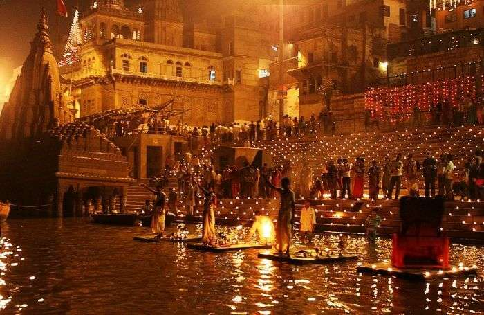 A ritual going on in late evening at Ganga Ghats of Varanasi