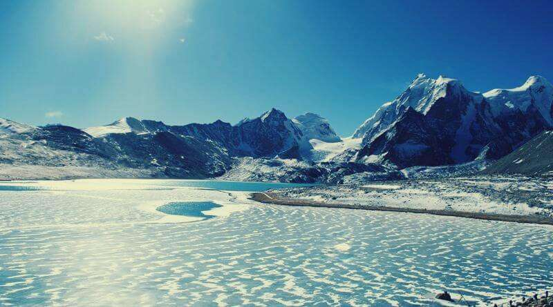 Winter view of the frozen Gurudongmar Lake in Sikkim