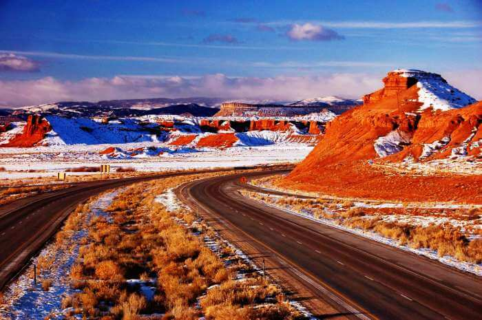 A riot of colours on the Interstate 70 road in Utah