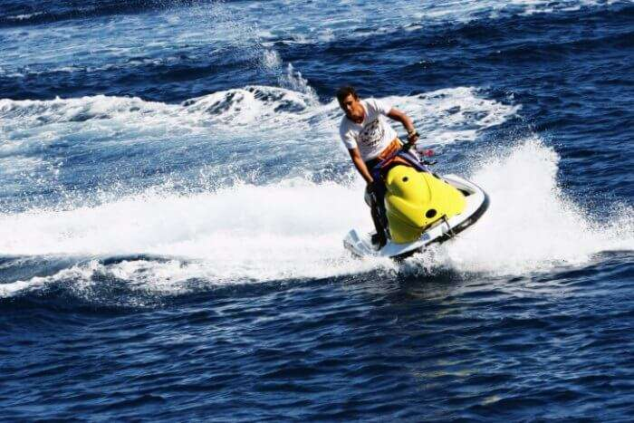 A man enjoying jet skiing in Goa