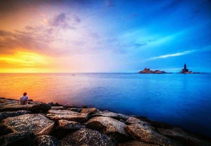 Sunset at the gorgeous Kanyakumari Beach