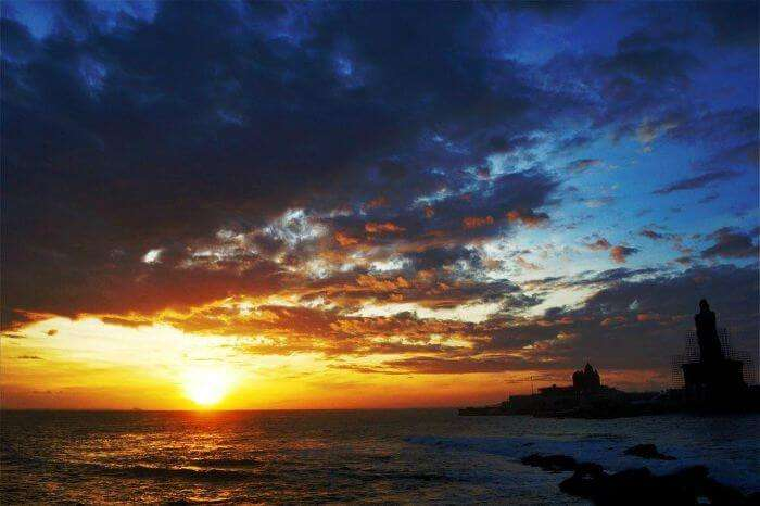 The southernmost tip of India — Kanyakumari — during its remarkable sunrise