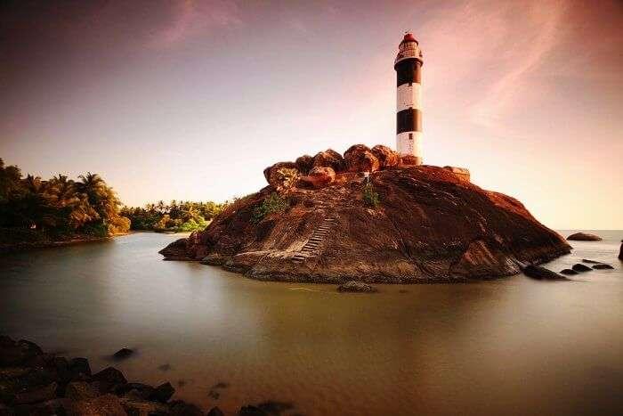 the lighthouse at the Kaup beach of Karnataka