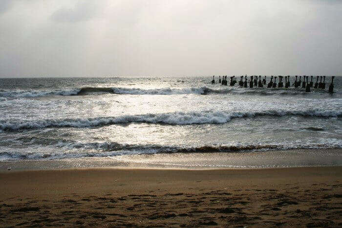 The sunset view of the Kozhikode beach in Kerala