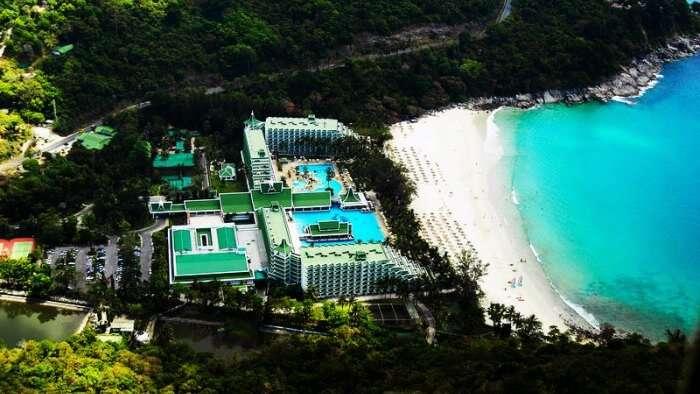 Bird's eye view of Le Meridien Beach Resort in Phuket