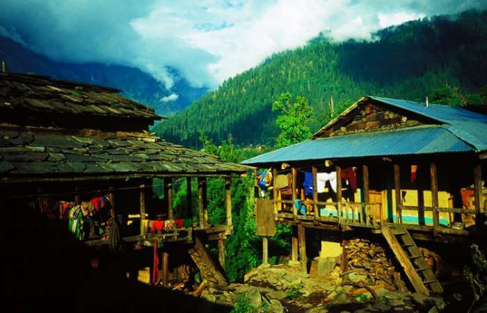 Old wooden houses in Malana village in Kasol.