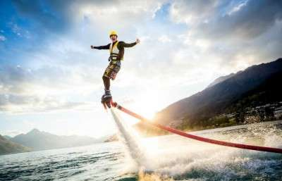 A man performing flyboarding in Goa