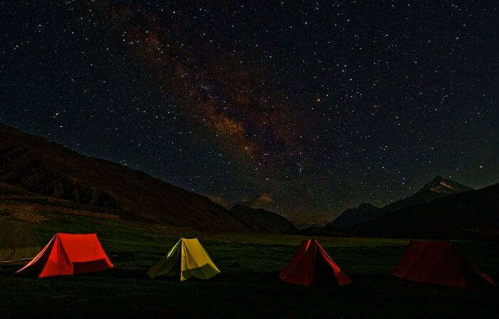 Colorful camping tents under the Milky way in Ladakh