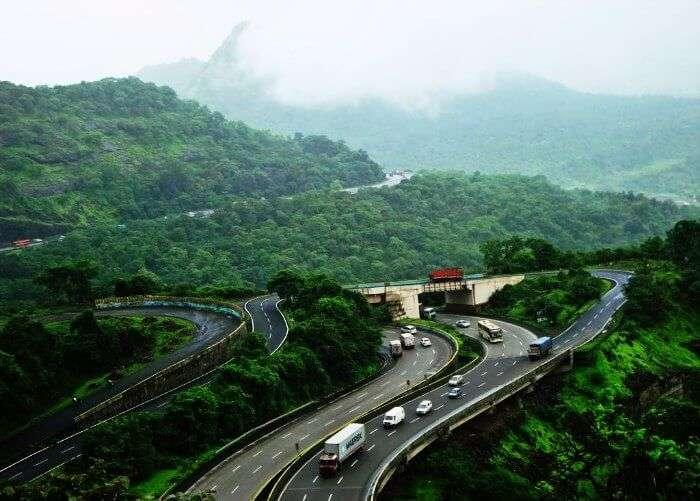 Mumbai Pune highway during monsoons