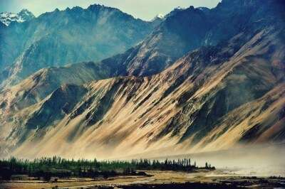 Picturesque valley of the Nubra Valley in Ladakh
