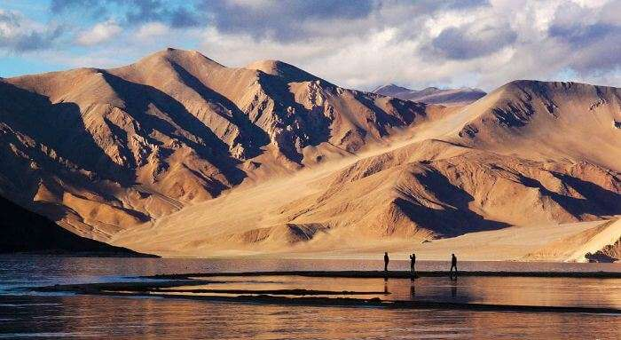 Visitors clicking their pictures at Pangong Tso Lake in Ladakh