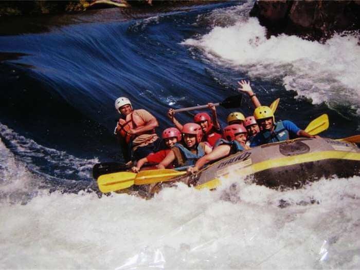 Tourists rafting in the waters of Kundalika river in Kolad