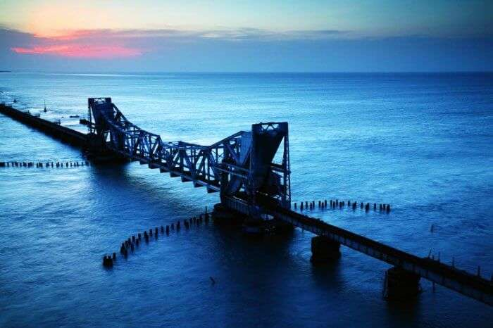 The railway bridge at Rameshwaram