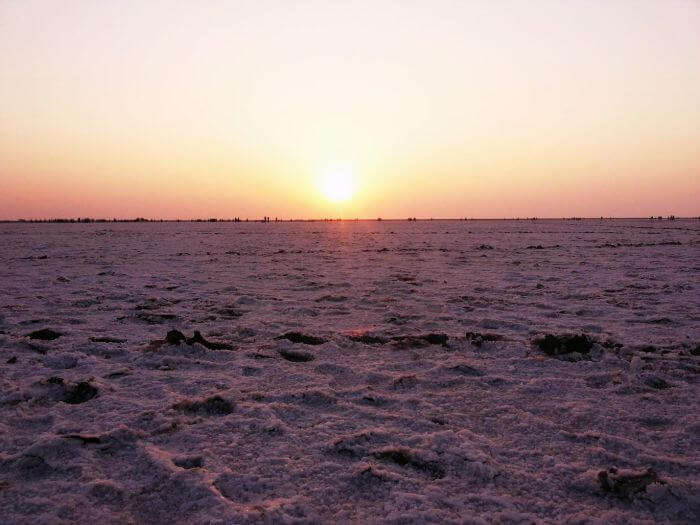Morning sun reflecting off the white salt marshes of Rann of Kutch