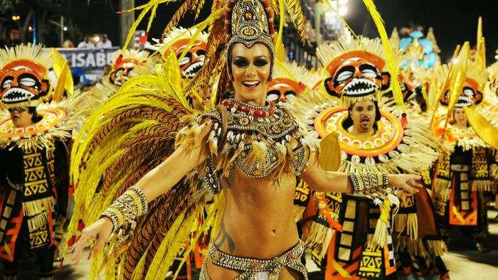 The town of Rio de Janeiro in Brazil renowned for its carnivals and energy