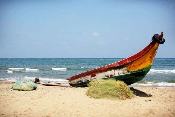 A fishing boat at Serenity beach in Pondicherry