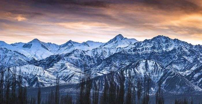 The mesmerizing snow clad mountain range of Stok Kangri in Ladakh