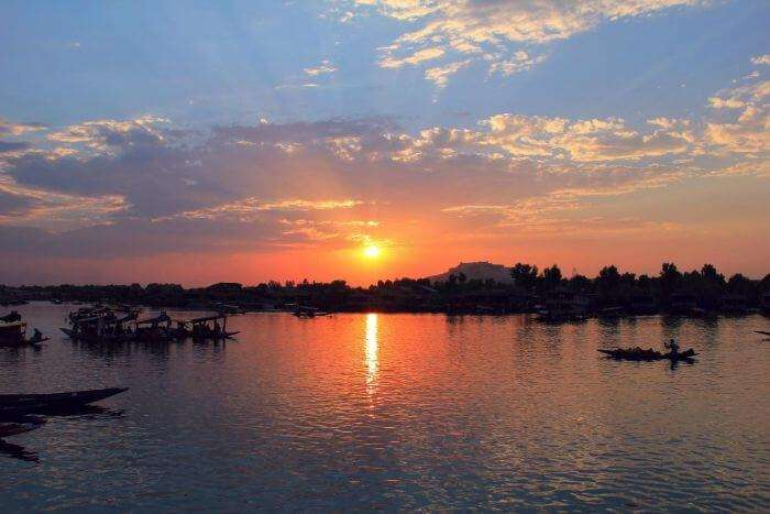 Amazing sunrise at Upper Lake in Bhopal