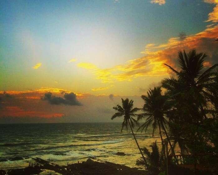 A beautiful sunset at Anjuna beach in Goa
