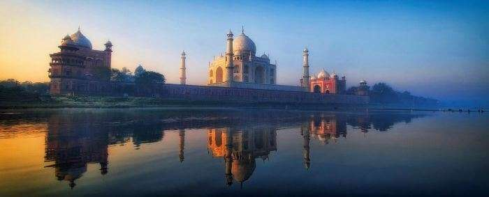 Spectacular view of Taj Mahal when the first ray falls on it