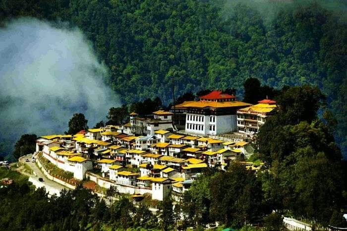 The Buddhist monastery looks beautiful in the backdrop of the majestic hills at Tawang in Arunachal Pradesh
