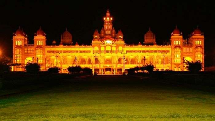 The night view of the famous Mysore Palace with lightings