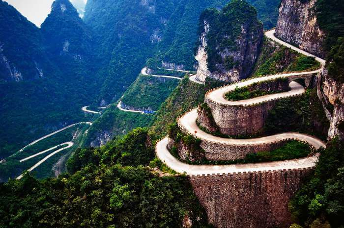 The curvaceous road of Tianmen Mountain, China
