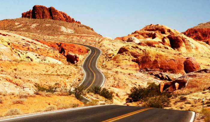 Road through the red mountains at Valley of Fire, USA