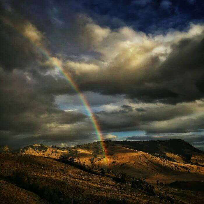 A beautiful rainbow in Yellowstone National Park