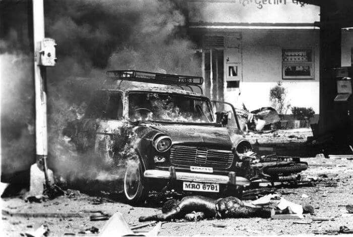 A car bomb after explosion
