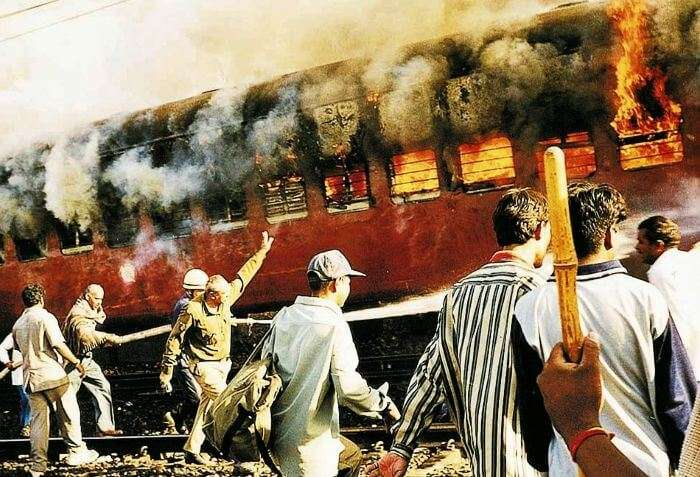 Train carrying pilgrims from Ayodhya was set on fire.