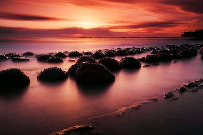 The glistening Bowling Ball Beach at Schooner Gulch in California