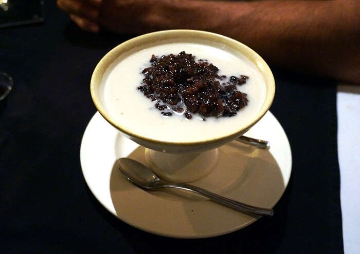 The black rice pudding is a sweet Bali cuisine