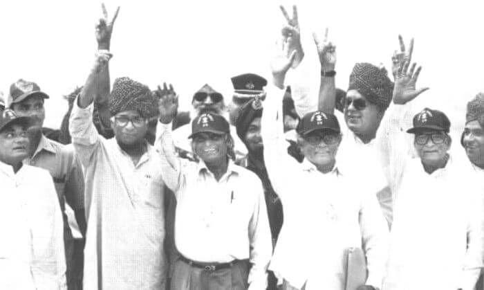 Dr. Kalam and Prime Minister Vajpayee at the post test celebrations at Pokhran
