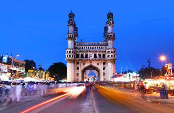 Charminar in the bustling streets of Hyderabad