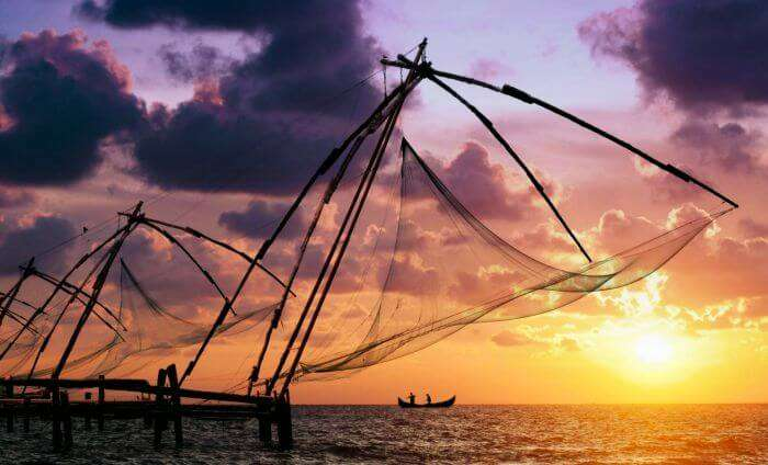 Sunset on a beach in one of the most beautiful cities in India Kochi