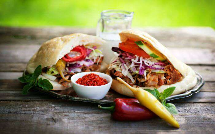 A doner Kebab stuffed with chicken