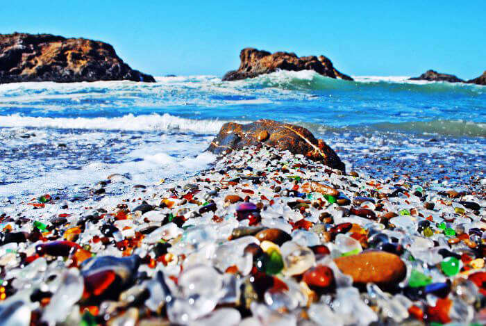 Colored glass on the beach of Fort Bragg in California