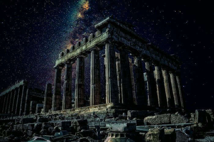 Ruins of Athens in starlight