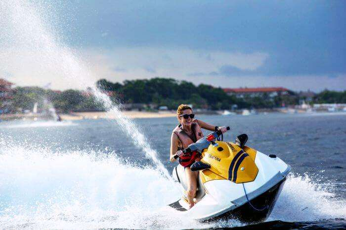 A girl Jet Skiing in Bali