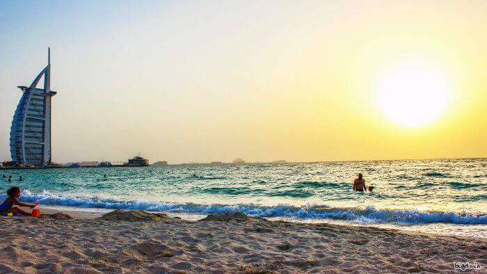 Sunset views at one of the best visiting places in Dubai - Jumeirah beach