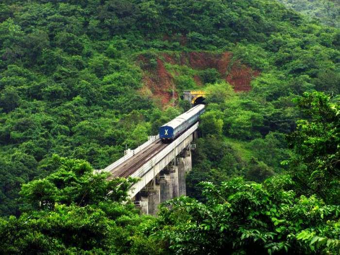 Konkan Railways passing through dense forests enroute Ratnagiri-Mangalore