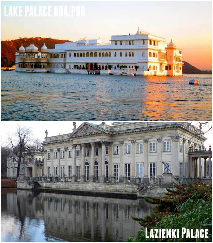 Similar charms of Lake Palace in Udaipur and Lazienki Palace