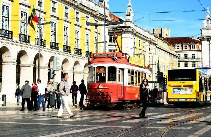 The busy streets of Lisbon