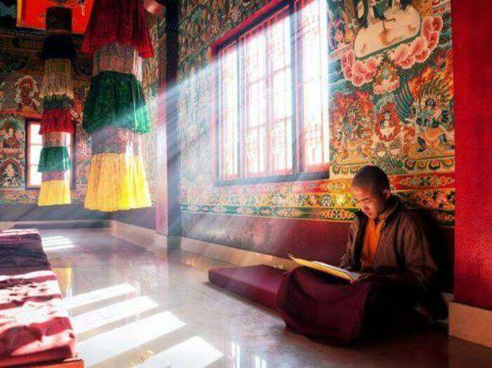 A monk in a beautiful and artistic monastery in Sikkim