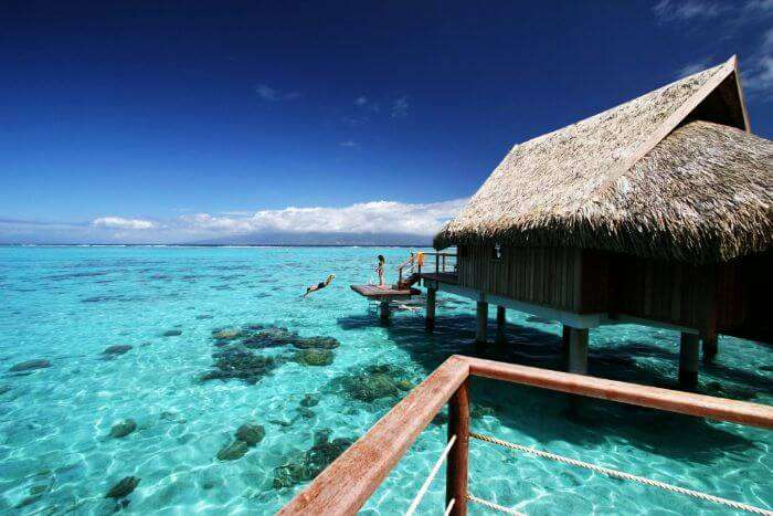 Crystal clear waters of Moorea Ia Ora Beach Resort in Bali