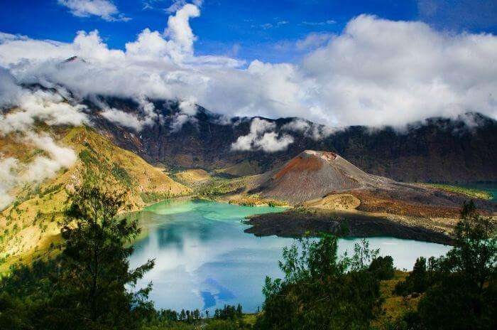 Stunning colors of Mount Rinjani in Indonesia