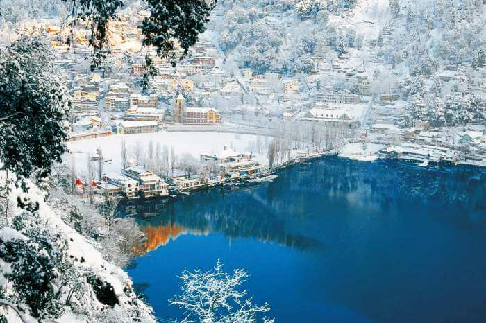 The beautiful city of lakes - Nainital covered with snow during winters